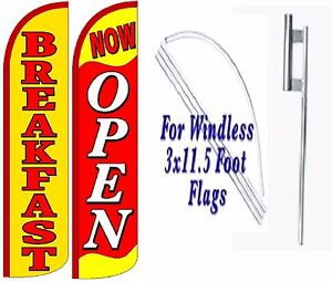 Breakfast Now Open Windless Swooper Flag With Complete Kit Pack Of 2