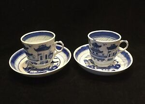 Pr Canton Chinese Export Demitasse Cups Saucers Blue White 2538