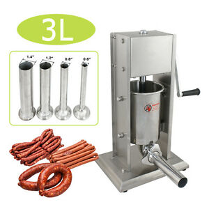 7lb 3l Sausage Stuffer 2 Speeds Stainless Steel Horizontal Sausage Maker