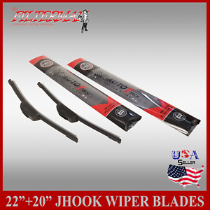 All Season 22 20 Premium Jhook Bracketless Windshield Wiper Blades 2 Pieces