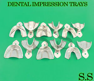 Dental Stainless Steel Perforated non Per Impression Trays Autoclavable 12 pcs