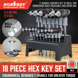 20 Piece T Handled Allen Wrench Bit Hex Key Set Sae Metric With Stand