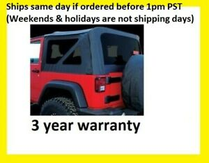 Replacement Black Soft Top Tinted Windows 2007 09 For Jeep Wrangler 2 Doors Jk