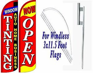 Window Tinting Auto Home Business Now Open Windless Swooper Flag Kit Pack Of 2