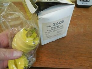 10 New In Box Woodhead 2608 Turnex Hi Amp Plugs 20a 125 250 Volt 3 Pole 10