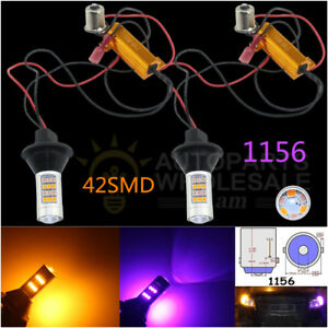 2 No Hyper Flash 1156 Switchback Led Bulbs Front Turn Signal Lights Or Drl