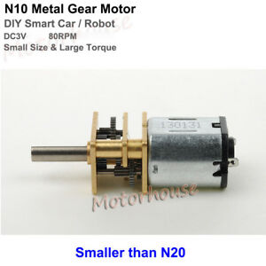 Dc 3v 80rpm N10 Mini Full Metal Gear Motor Micro Gearbox Diy Smart Car Robot