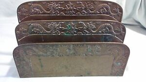 Antique Asian Chinese Bronze Letter Holder Dragon Decor Made In China