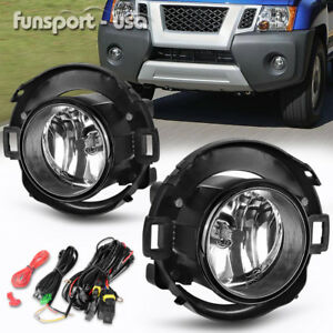 For 05 14 Nissan Xterra 10 17 Frontier Clear Fog Light Lamps Plastic Bumper Only