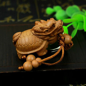 Dragon Turtle Statue Wood 3d Carving Chinese Wealth Sculpture Pendant Key Chain