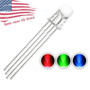 5pcs 5mm 4pin Common Anode Clear Rgb Tri color Red Green Blue Led Diodes Us