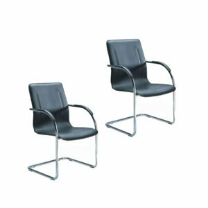 Boss Chrome Guest Chair With Chrome Frame And Black Vinyl set Of 2