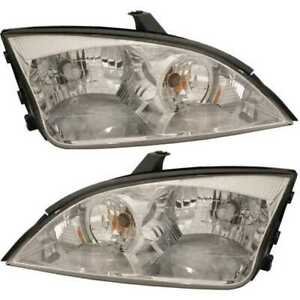 New Pair Left And Right Headlight Assemblies Fits 2005 2006 2007 Ford Focus