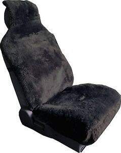 Luxurious Sheepskin Charcoal Wrap Seat Cover Airbag Ready One Piece