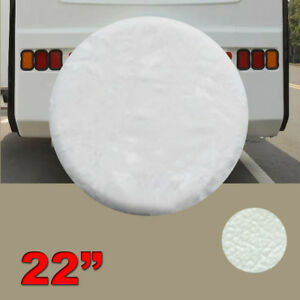 20 22 Spare Tire Cover For Jeep Trailer Rv Suv Truck Wheel White Soft Vinyl