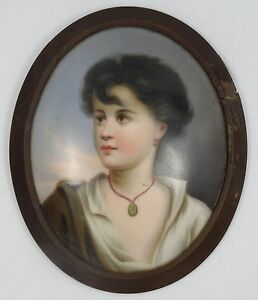 Fine 19c Porcelain Painted Lady Portrait Oval Plaque