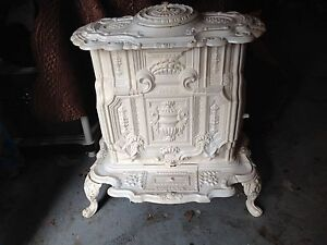 White Antique Cast Iron Parlor Stove 1870