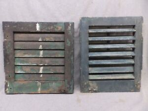 Two Small Antique Window Wood Louvered Shutters Vtg 453 17r