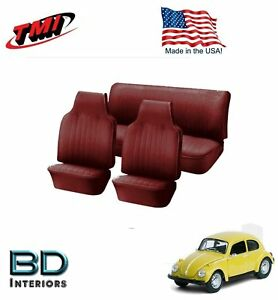 1968 1969 Vw Volkswagen Bug Beetle Slip On Seat Upholstery Red In Stock