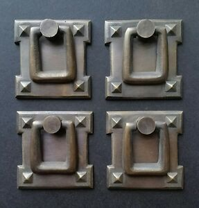 4 Square Mission Stickley Antique Style Brass Handles Ring Pulls 2 1 8 H38