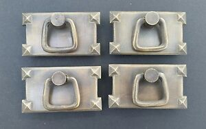 4 Mission Stickley Brass Antique Style Horizontal Handles Ring Pulls H26