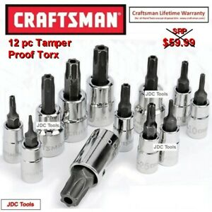 Craftsman 12 Pc 3 8 1 4 Drive Tamper Proof Security Torx Bit Socket Set 7 9 13