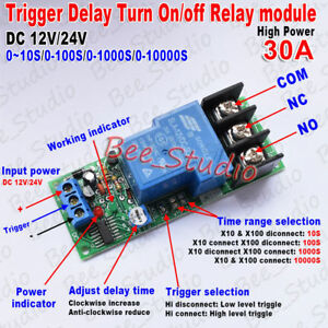 High Power 30a Trigger Control Delay Timer Switch Turn On off Time Relay Module