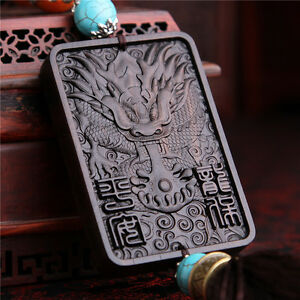 Ebony Wood Carving Chinese Geomancy Dragon Turquoise Beads Sculpture Car Pendant