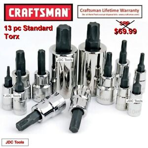 Craftsman 13pc Piece 1 2 3 8 1 4 Drive Torx Bit Specialty Socket Set New