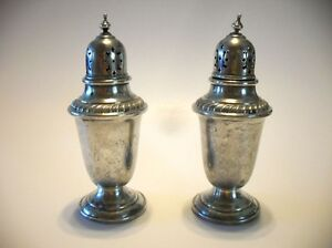 Vintage Antique Sterling Silver Salt Pepper Shakers Gorham 759 English Gadroon