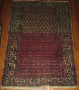 Vintage Persian Hand Knotted Serabend Boteh Red Black Blue 60 X 42 Prayer Rug
