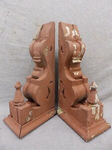 Antique Pair Wood Corbels Shabby Cottage Chic Vintage 488 17r