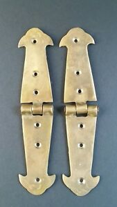 Pair Brass Rustic Hinges Antique Vintage Style Door Trunk Box Lid 5 3 4 X1