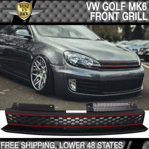 Fits 10 14 Vw Golf 6 Mk6 Gti Style Front High Bar Black Red Mesh Grille Abs