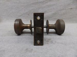 Antique Bronze Brass Door Knob Set Mortice Eastlake Old Vintage 508 17r
