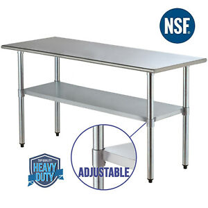 30 x72 Adjustable Work Prep Table Stainless Steel Commercial Kitchen Restaurant