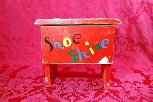 Antique Rustic Red Shoe Shining Box With Shoe Shine Set Hinged Lid