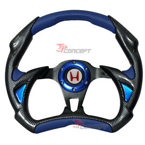 320mm Racing Sport Steering Wheel Black Carbon Blue Pvc White H Horn Button
