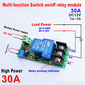 Dc 12v 30a 1s 1h Trigger Delay Turn On off Timer Control Relay Switch Module