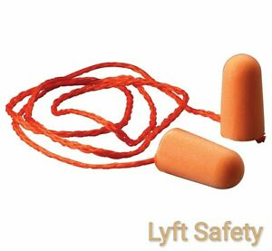 Ear Plugs 3m 1110 Corded Noise Reduction 29 Db Orange Foam Disposable 25 pack