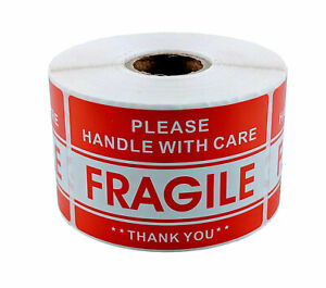 12 Rolls 2 X 3 Fragile Handle With Care Stickers 500 Per Roll