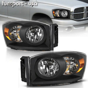 For 2006 2008 Dodge Ram 1500 2500 3500 Black Amber Headlights Headlamps Assembly