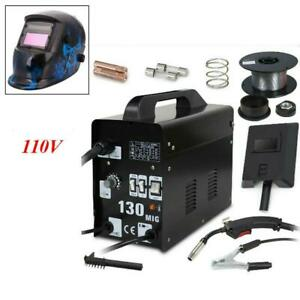 Mig 130 Flux Core Wire Welder Machine Welding Helmet 110 220v Dual Voltage