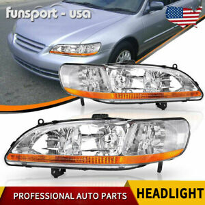 For 1998 2002 Honda Accord Chrome Housing Amber Corner Headlights lamps Assembly