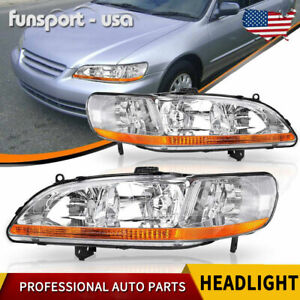 For 1998 1999 2000 2001 2002 Honda Accord Chrome Headlights Headlamps Left right