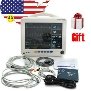 Us Patient Monitor 6 parameter Portable 12 Icu Ccu Vital Sign Cardiac Oximeter