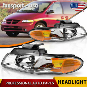Headlights Assembly For 1996 1999 Dodge Caravan Chrysler Town Country Voyager