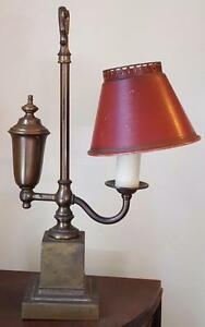Vintage Metal One Sided Reading Lamp Bronze Base Good Working Condition