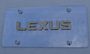 Lexus Chrome Emblem License Plate Tag W Gold Swarovski Iced Out Crystal Badge