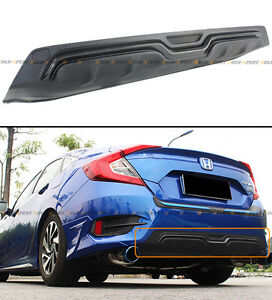For 2016 18 Honda Civic 4d Sedan Black Carbon Look Texture Rear Bumper Diffuser